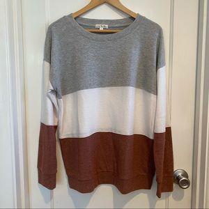 Nine Britton Brushed Knit Color Block Long Sleeve